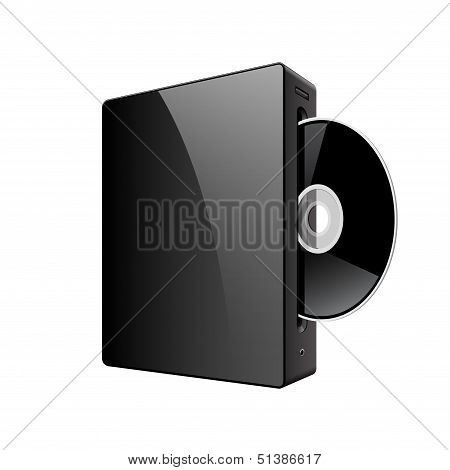 Realistic Media Player with DVD Or CD Disk. Vector illustration