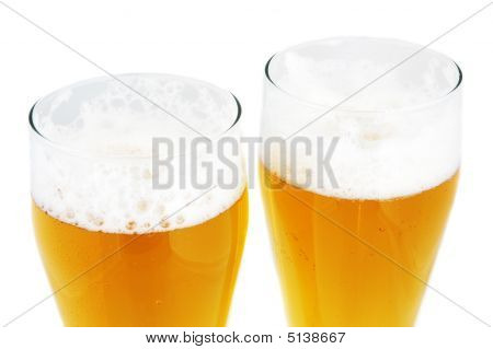 Close Up Of Two Pints Of Beer