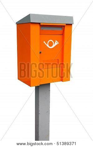 Orange European Metal Post Box