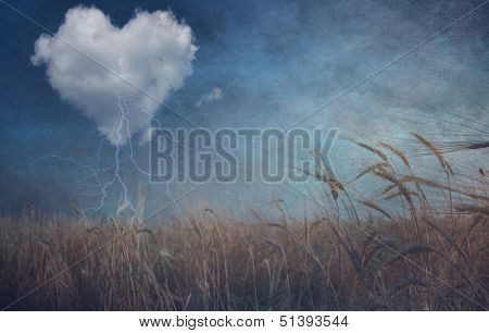 Heart cloud over field grunge textured