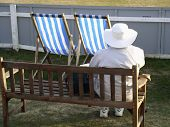 cricket, fan, bench, supporter, boundary, county, wicket, batting, fielding, relax, relaxing, watching, England, English, Hove, Sussex, Brighton, deckchair poster