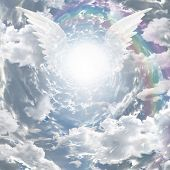 Angelic presence in tunnel of light poster