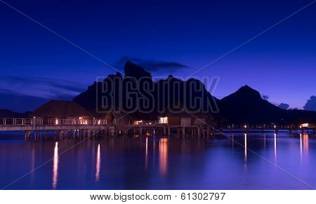 Bora Bora and starry sky at night