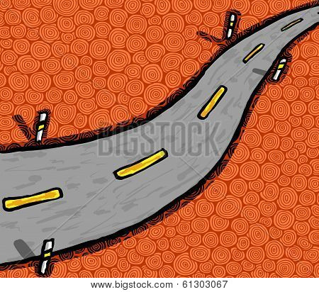 Hand drawn highway, vector illustration, abstraction theme poster