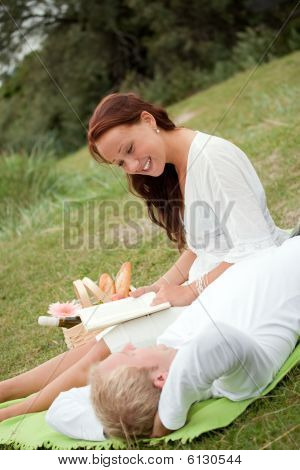 Cute Young Couple On Romantic Picnic