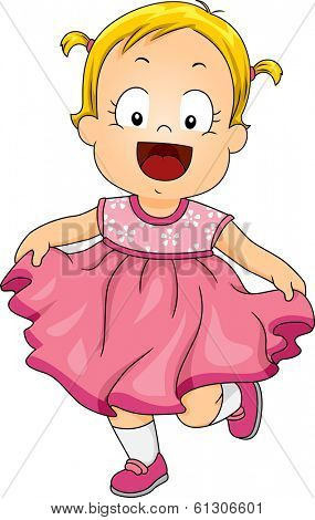 Illustration of a Smiling Little Girl Wearing a Pink Frilly Dress