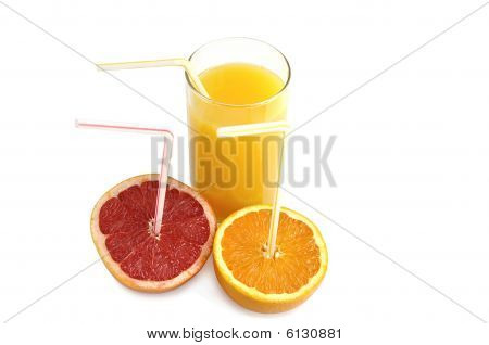 Orange juice with slices of fresh citruses.