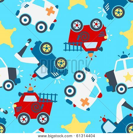Seamless pattern of different rescue vehicles on light blue background. poster