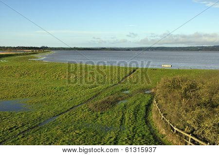 Spring Tide on the River Severn overtops the banks at The Dumbles Slimbridge poster