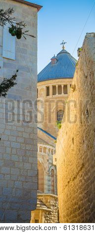 passage near church in old Jerusalem Hagia Maria Sion
