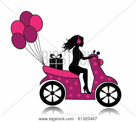 woman on a motorcycle driven by a gift and balloons