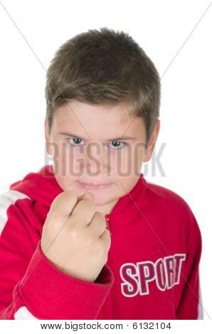 Little Boy Threatens With A Fist