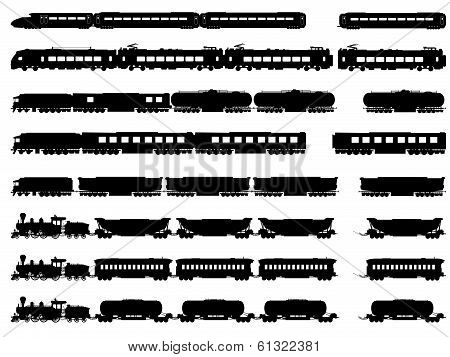 Vector Silhouettes Of Trains And Locomotives.