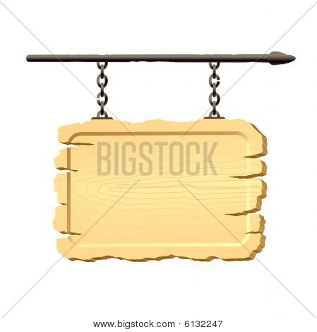 Signboard hanging on chains. Vector.