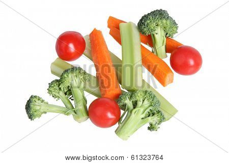 Broccoli, tomatoes, celery and carrot sticks, cut out on white background