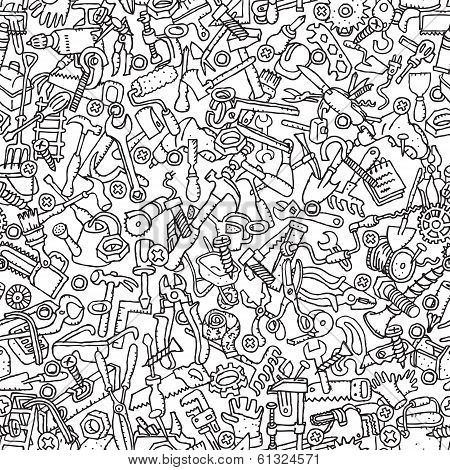 Tools Seamless Pattern In Black And White