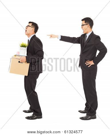 Business Boss Pointing To Fire The Employee