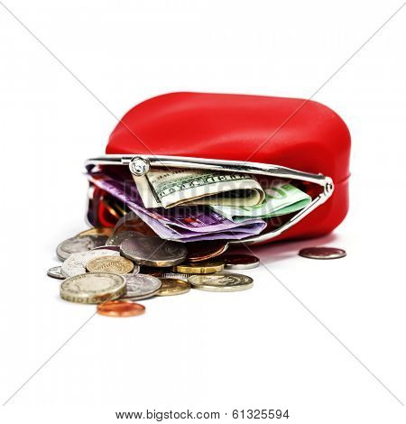 Red purse with money on white background