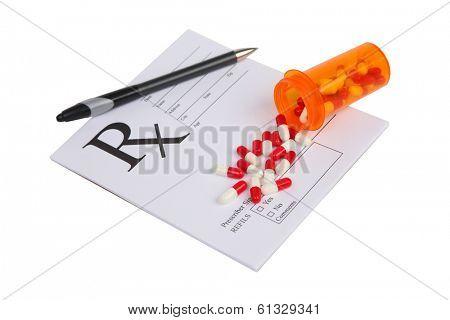 Perscription medicine on white background