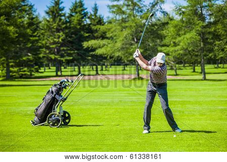 Mature Golfer On A Golf Course