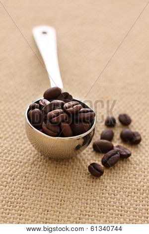 Teaspoon of coffee beans