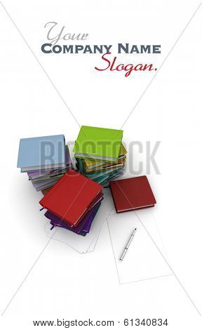 Desktop with sheets of paper, a ball pen and diaries, agendas and ledgers