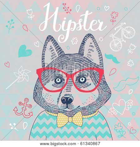 Husky hipster dog in glasses. Concept cartoon illustration in modern colors. Cute dog on seamless pattern. Childish card in vector.