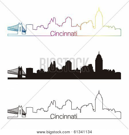 Cincinnati Skyline Linear Style With Rainbow
