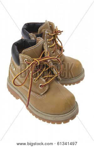 pair of tan working boots on white