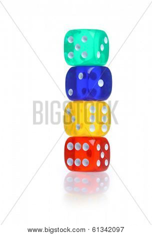 Colorful dice on white