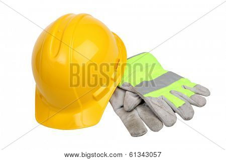 Construction Hard Hat and work gloves on white background
