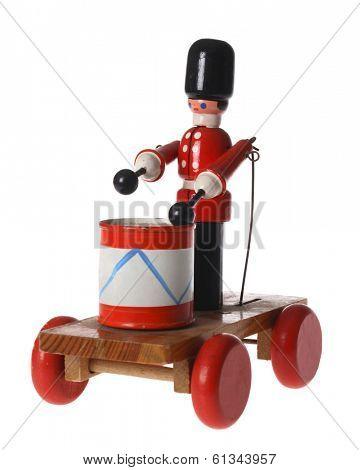 children's toy wooden drummer soldier on cart