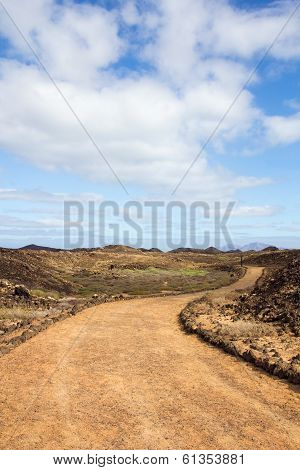 Curvy Path On Island Of Los Lobos In The Canary Islands