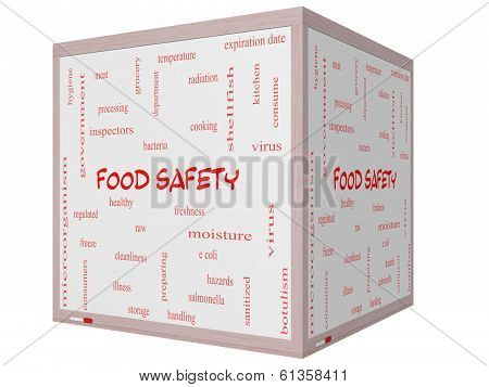 Food Safety Word Cloud Concept On A 3D Cube Whiteboard