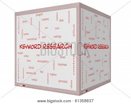 Keyword Research Word Cloud Concept On A 3D Cube Whiteboard