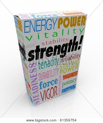 Strength word on a product package or box to illustrate the best choice with energy, power, might, stability, endurance and durability