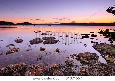 Tidal Shallows At Sunset Sundown