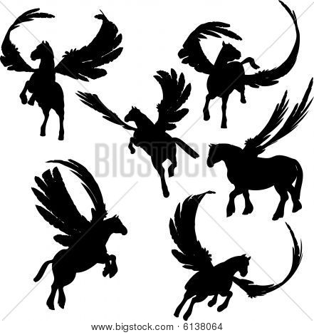 A set of illustrations of Winged Horse Silhouettes poster