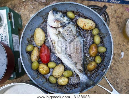 fish gilt-head (sea) bream (Sparus aurata) on the pan