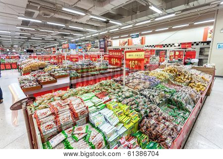 BEIJING,CHINA - FEB 12: Wal-Mart supermarket interior view on February  12th 2014 in Beijing. Wal-Mart is an American chain enterprises worldwide.