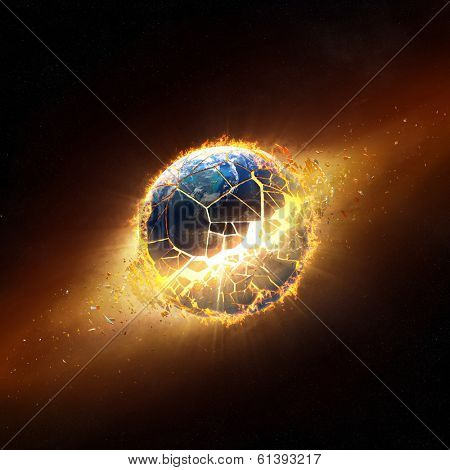 Planet earth explode with burning flames (Elements of this 3d image furnished by NASA -  texture maps from http://visibleearth.nasa.gov/)