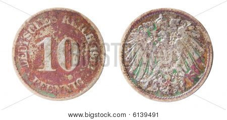 two sides of old germanic 10 pfennig coin of 1912 poster