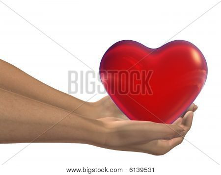 red 3D heart held in hands by an adult male