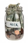 401K savings jar on white background poster