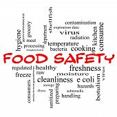 Food Safety Word Cloud Concept in red caps with great terms such as hazards e coli cooking and more. poster