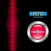 Silver button with red sound or music wave sign poster