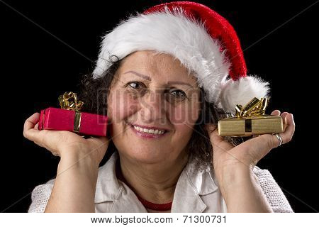 Gentle Aged Woman Holging Two Small Gifts