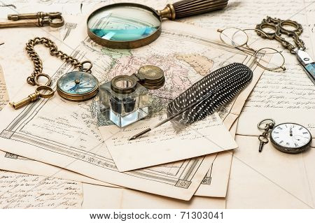 Old Letters And Maps, Vintage Ink Pen, Antique Accessories