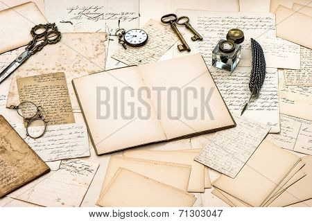 antique accessories old letters open diary book and vintage ink pen. nostalgic sentimental scrapbook paper background poster