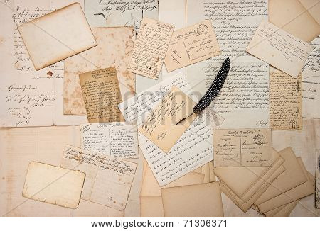 Letters, Handwritings, Vintage Postcards And Feather Pen